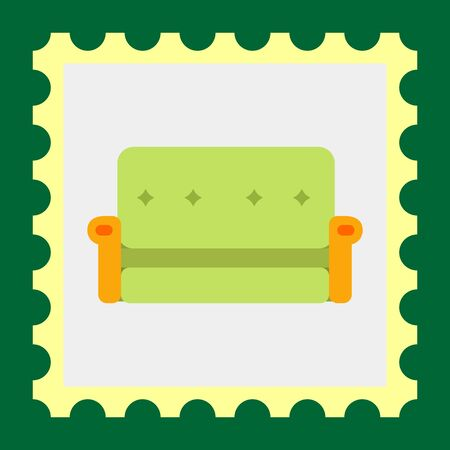 armrests: Multicolored vector icon of green couch with yellow armrests Illustration