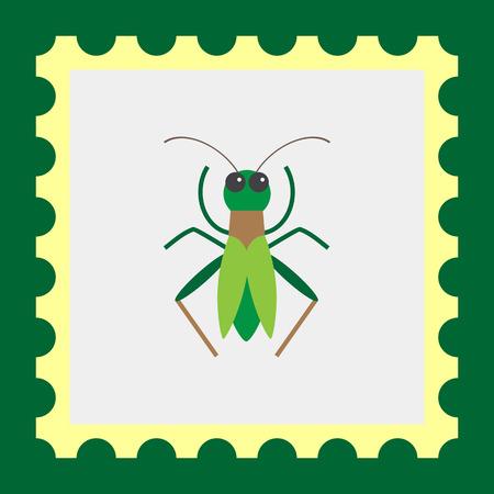 grasshopper: Multicolored vector icon of green cartoon grasshopper, top view