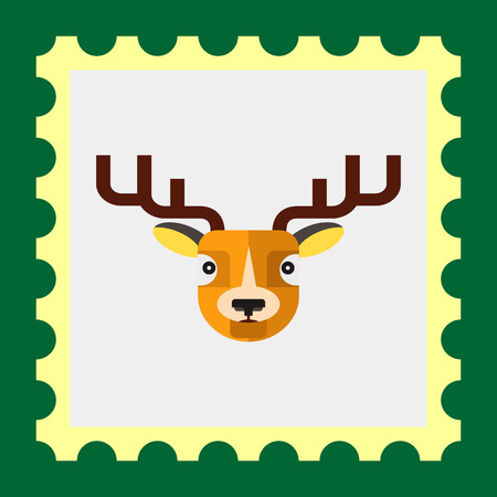 horned: Multicolored vector icon of horned reindeer head