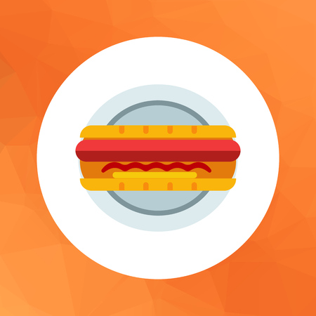 hot dog: Vector icon of hot dog on plate Illustration