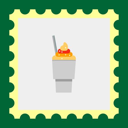 conveniently: Multicolored vector icon of ice cream in disposable cup with spoon