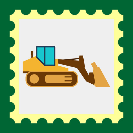 movers: Multicolored vector icon of industrial bulldozer with caterpillar wheels
