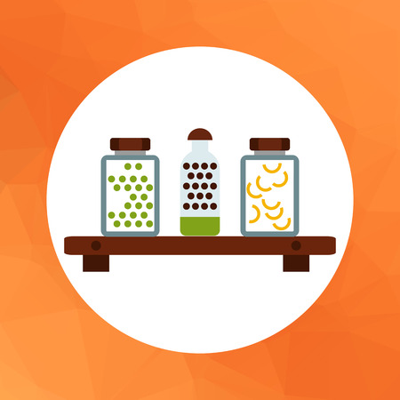 food storage: Vector icon of jars with peas and pasta on shelf