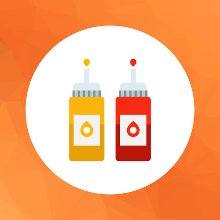 mustard: Vector icon of ketchup and mustard bottles with dispenser