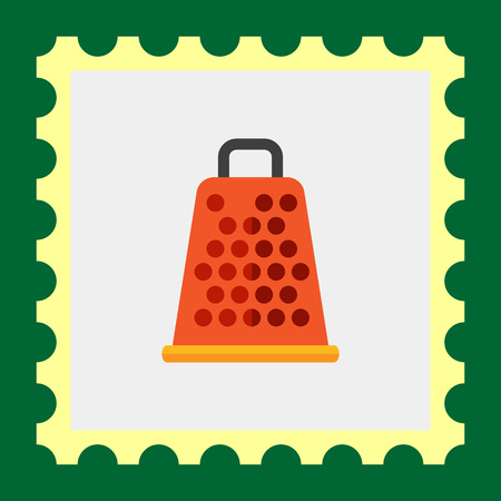 grater: Multicolored vector icon of orange kitchen grater with handle