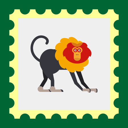 mane: Multicolored vector icon of lion-tailed macaque with orange and yellow mane Illustration