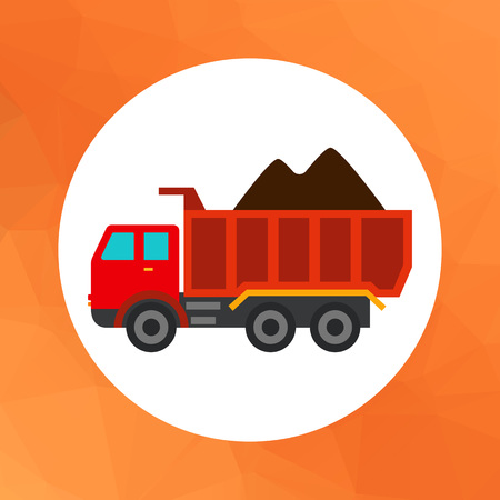 loaded: Multicolored vector icon of loaded dump truck