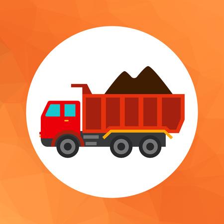 dump body: Multicolored vector icon of loaded dump truck