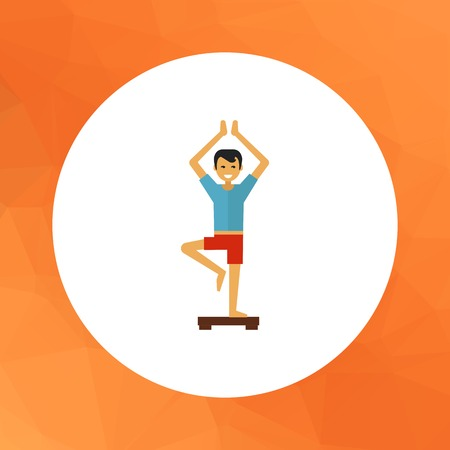 doing: Multicolored vector icon of young man doing yoga
