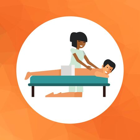 Multicolored vector icon of Asian woman massaging young man