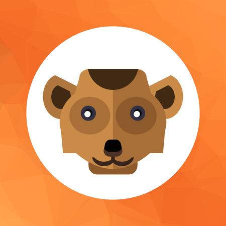 kalahari desert: Multicolored vector icon of brown meerkat head
