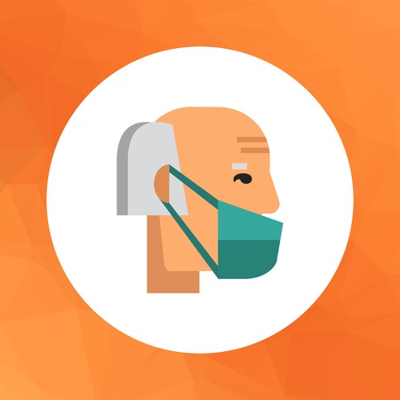 flu prevention: Multicolored vector icon of old man wearing medical mask