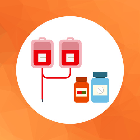 iv: Multicolored vector icon of medical drip with iv bags and two pill bottles