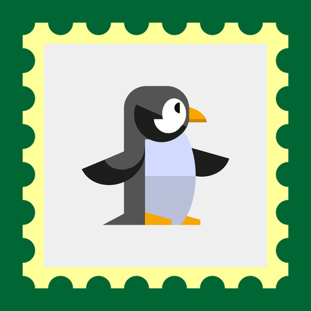 beine spreizen: Multicolored vector icon of penguin, side view Illustration