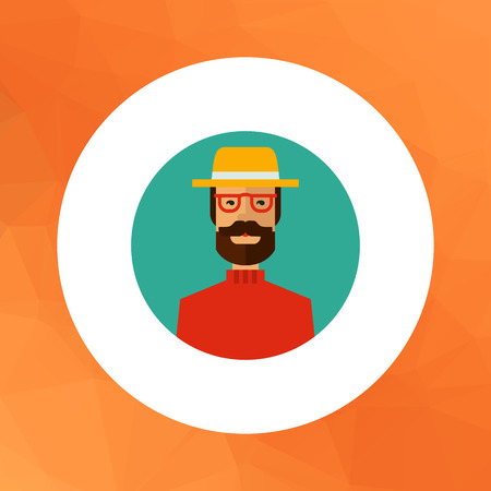 blank expression: Multicolored vector icon of man with beard wearing glasses, yellow hat and red sweater Illustration