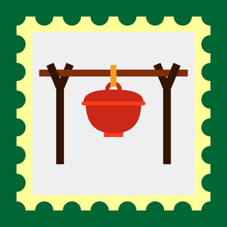 woodpile: Multicolored vector icon of pot hanging above bonfire