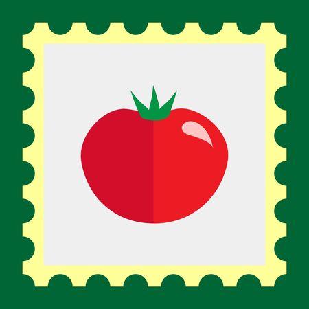 ripe: Multicolored vector icon of ripe red tomato