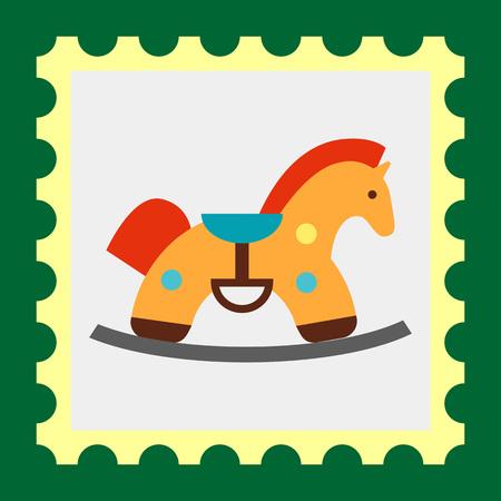 rein: Multicolored vector icon of retro rocking horse Illustration