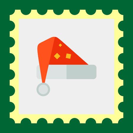 fur cap: Multicolored vector icon of red Santa hat Illustration