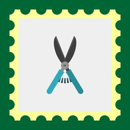handles: Multicolored vector icon of secateurs with blue handles Illustration
