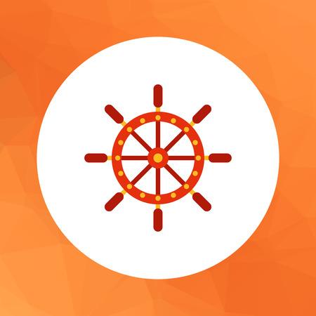 ship steering wheel: Multicolored vector icon of ship steering wheel