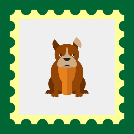 smooth legs: Multicolored vector icon of sitting bulldog with hanging ear Illustration