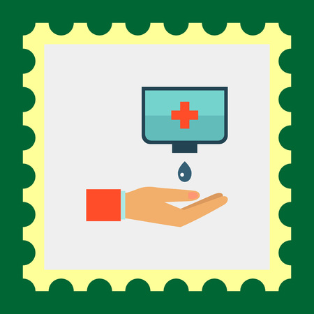 desinfectante: vector icono multicolor ofwashing las manos con jabón desinfectante