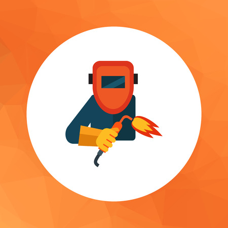 Multicolored vector icon of welding worker wearing protective mask