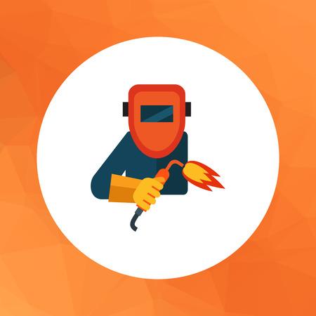 Wielobarwny wektor ikona pracownika noszenie maski ochronne spawania