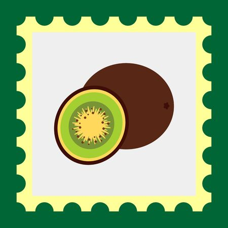 rational: Multicolored vector icon of whole kiwi and cut kiwi half