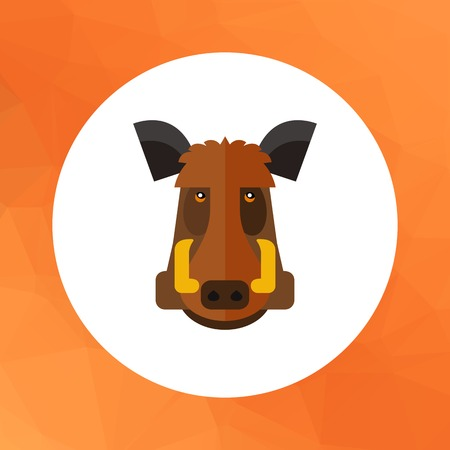 cloven: Multicolored vector icon of wild boar head