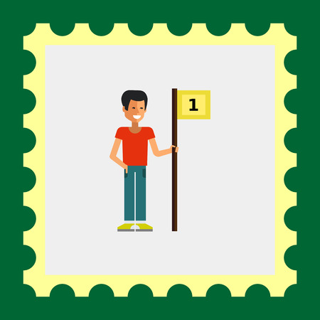 young one: Multicolored vector icon of young winner holding flag with number one