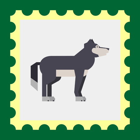 grey wolf: Multicolored vector icon of standing grey wolf, side view
