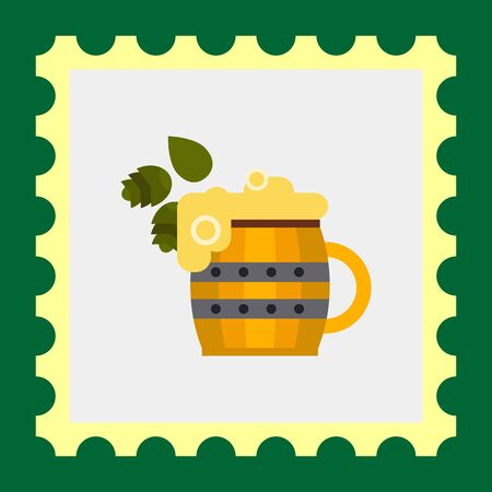 hops: Multicolored vector icon ofwooden beer mug and hops