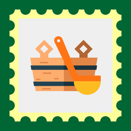 steam bath: Multicolored vector icon of wooden bucket and water scoop