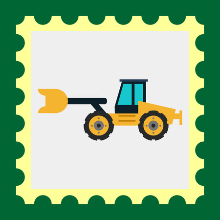 mover: Multicolored vector icon of yellow industrial bulldozer Illustration