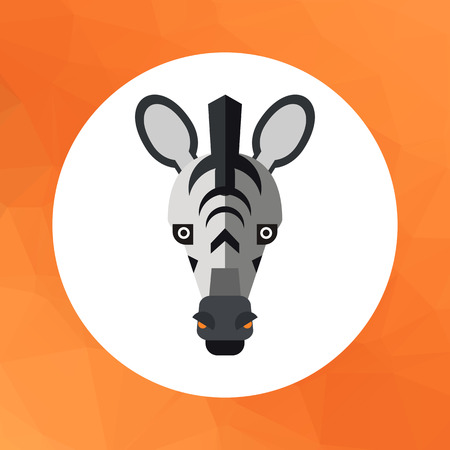 national parks: Multicolored vector icon of striped zebra head