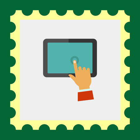 touching: Multicolored vector icon of man hand touching tablet display Illustration
