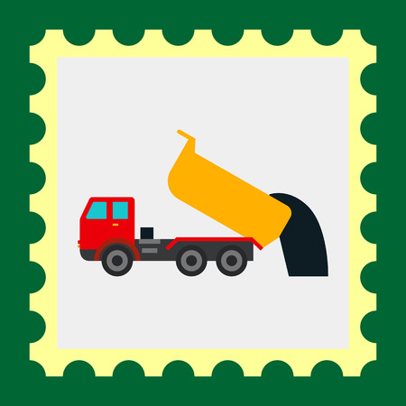 to unload: Multicolored vector icon of unloading dump truck