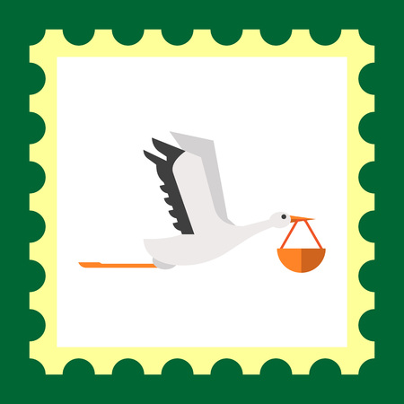 Vector icon of flying stork carrying bundle in its beak