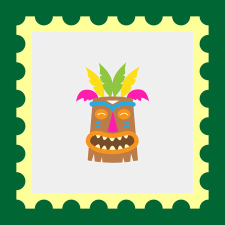 african warriors: Vector icon of African wooden tribal mask Illustration