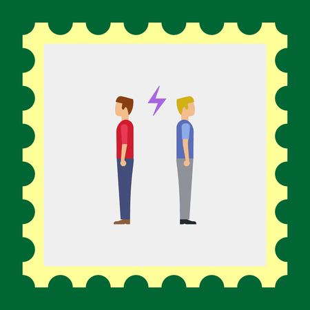 t shirt blue: Icon of two man turning back to each other with lightning sign between them Illustration