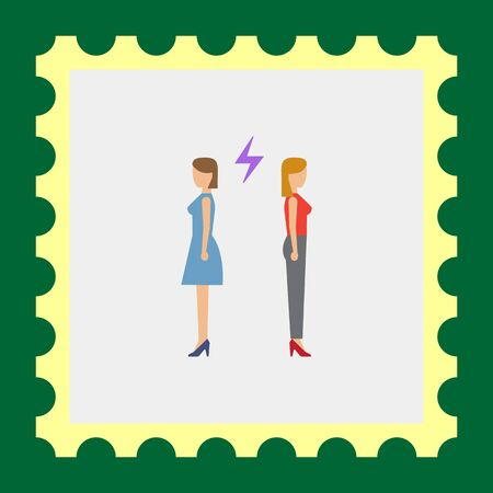 medium group of people: Icon of two woman turning back to each other with lightning sign between them Illustration