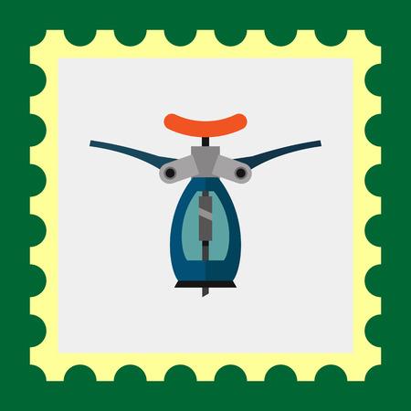 automatic: Multicolored vector icon of blue automatic corkscrew
