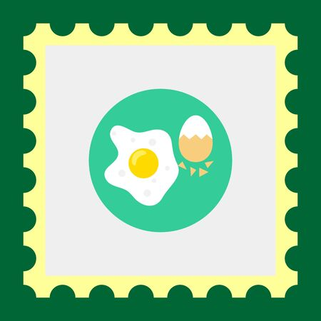 boiled egg: Icon of fried egg and boiled egg with half-peeled eggshell