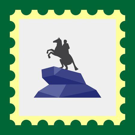 uomo a cavallo: Icona di vettore di Cavaliere di bronzo statua Vettoriali