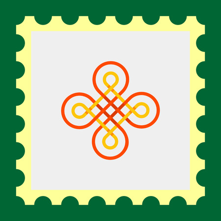 british culture: Multicolored vector icon of wicker Celtic ornament