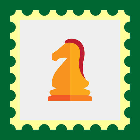 chess knight: Multicolor del icono del vector de la naranja caballo de ajedrez Vectores