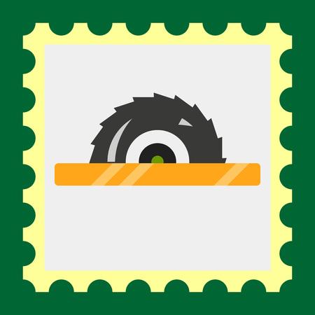 crosscut: Multicolored vector icon of circular saw