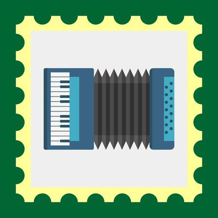 concertina: Multicolored vector icon of blue classic accordion
